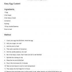 Egg Custard Recipe Sheet